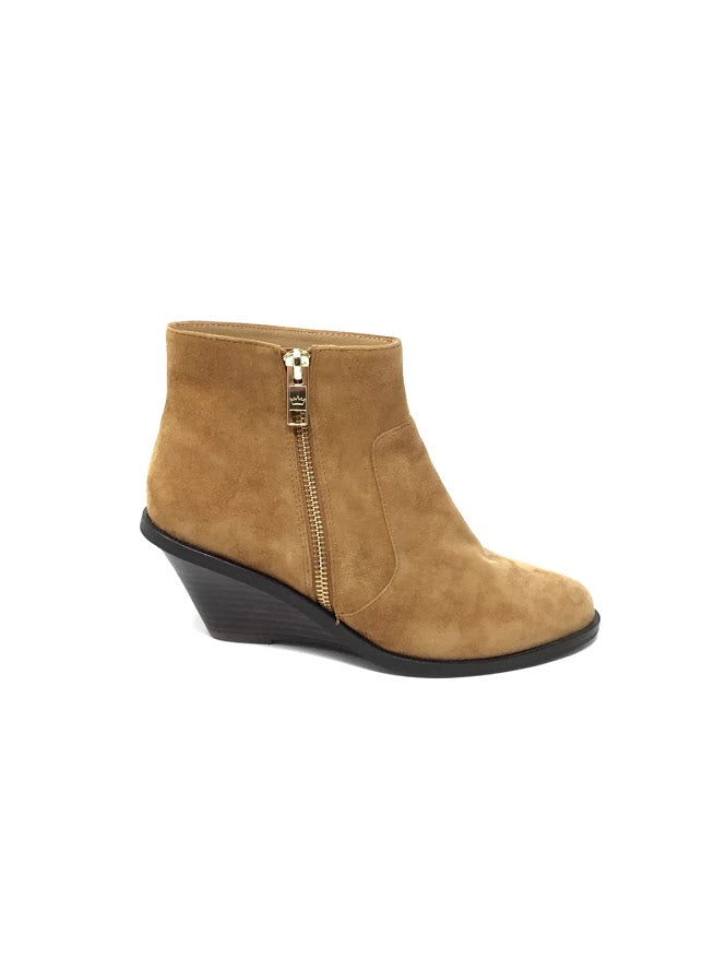 Elaine Turner 6.5 Suede Wedge Booties W/ Side Zip