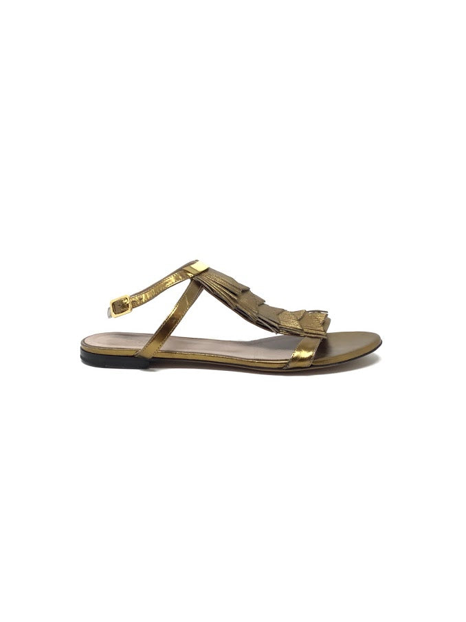 Chloe 37.5 Metallic Fringe Leather Sandals