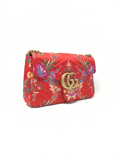 Gucci Red  Silk Embroidered Marmont Bag