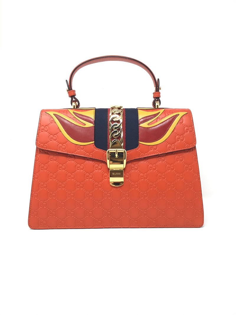 Gucci Orange Multi Flame Sylvie Gucci Signature Top Handle Bag