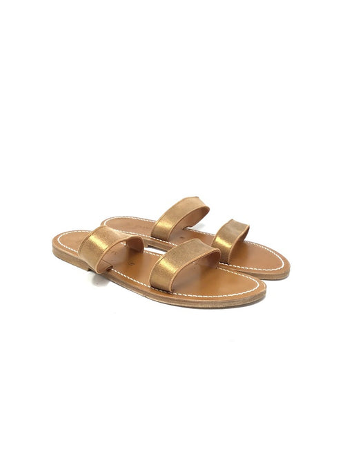 K Jacques W Shoe Size 41 Double Strap Metallic Sandal