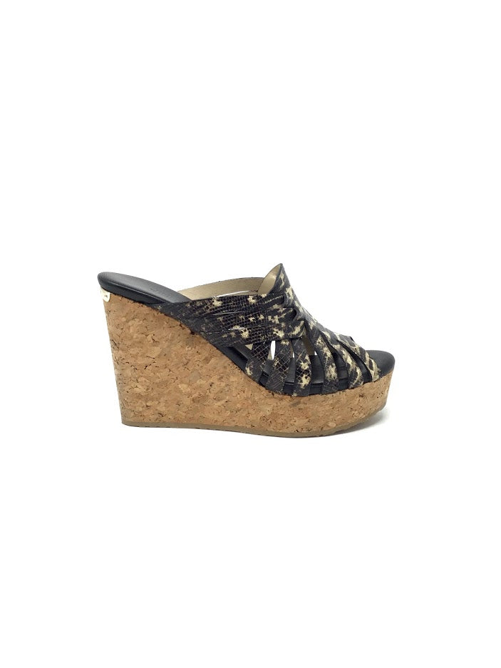 Jimmy Choo 35.5 Snakeskin Slide Cork Wedge