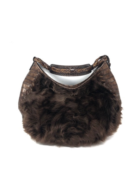 christian Dior Brown Fur & Croc Lace Up Handbag