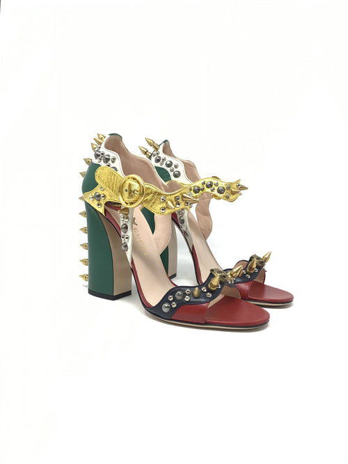 Gucci W Shoe Size 38.5 Metallic 'Malaga Kid' Embellished Studded Heel