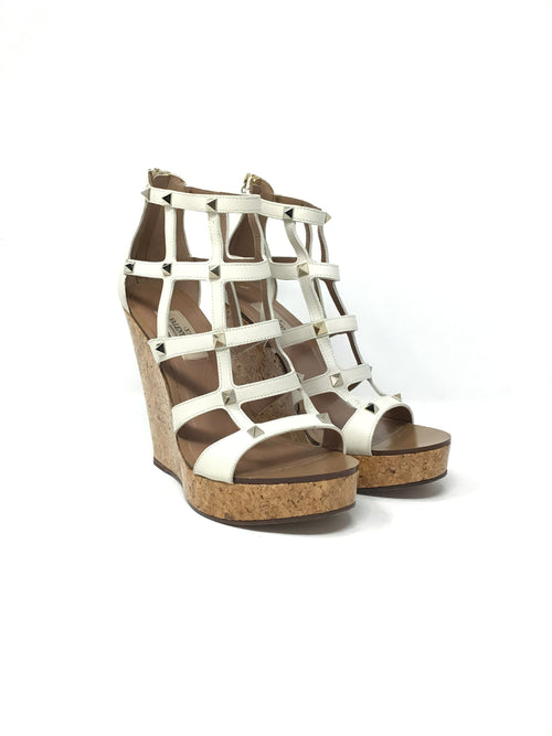 Valentino W 38 Caged Rockstud Cork Wedge