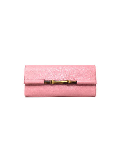 Gucci Bubble Gum Pink Leather and Bamboo Clutch Bag