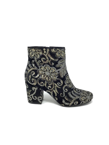 Karl Lagerfeld W Shoe Size 7 Edith Sequined Velvet Bootie