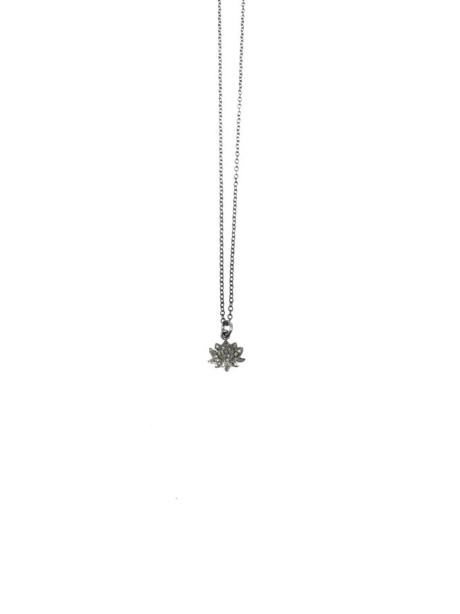 Shalom Jewelry Oxidized Diamond Lotus Flower Pendant Necklace