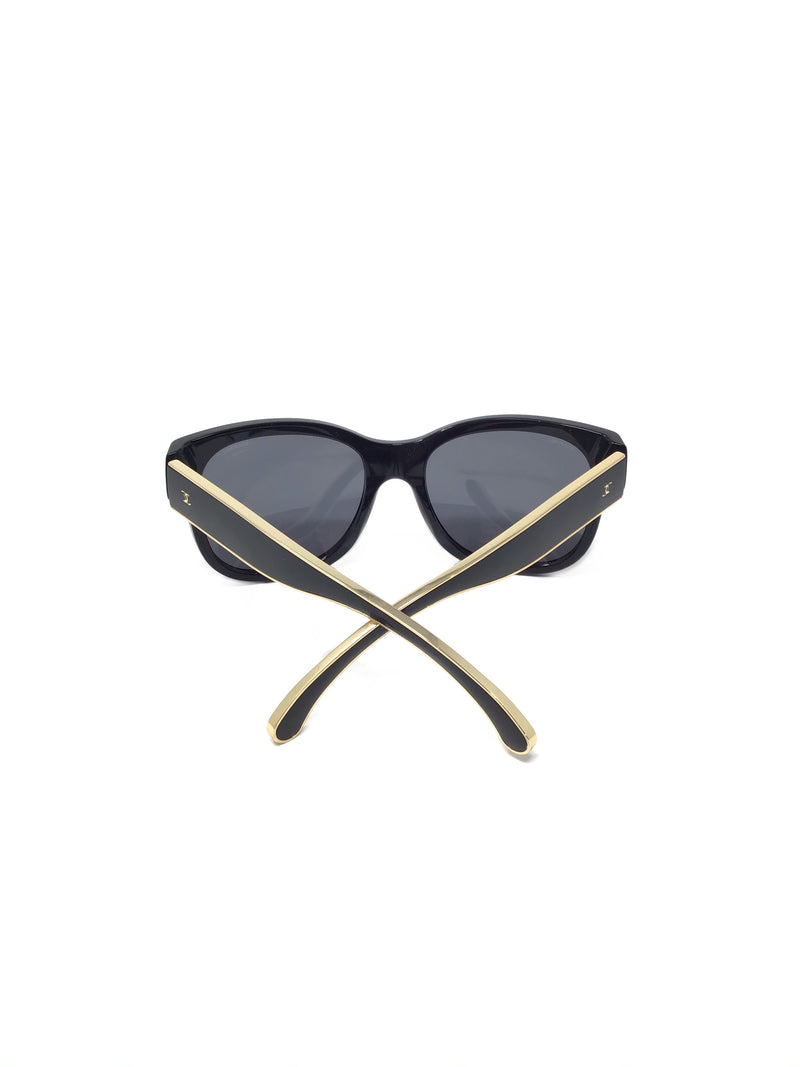 Chanel WB! Polarized Gold Lined CC Stem Sunglasses