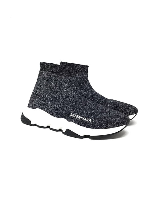 Balenciaga W Shoe Size 39 Metallic Knit High-Top Sock Sneakers