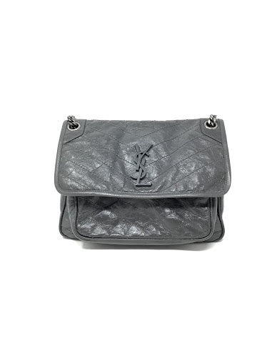 Saint Laurent Charcoal Medium 'Niki' Leather Shoulder Bag