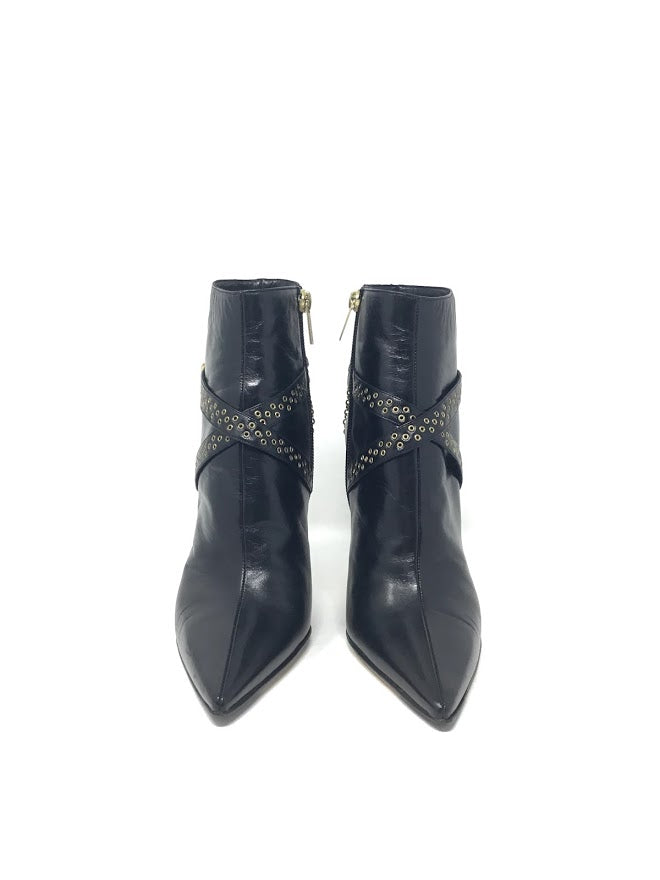 Jimmy Choo Leather Grommet Strap and Chain Detail Ankle Booties