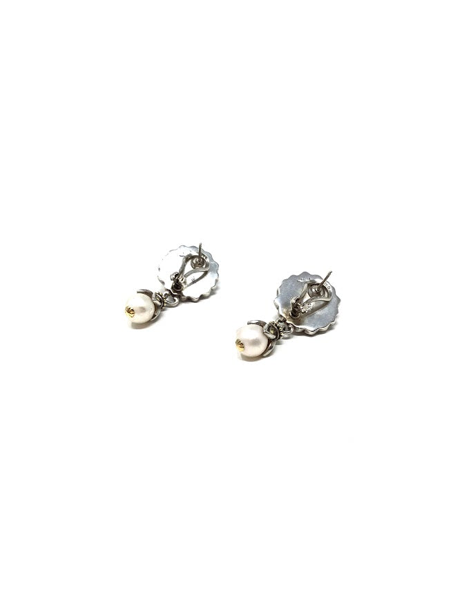 John Hardy Silver/Gold WB 18K SS Pearl Drop Earrings