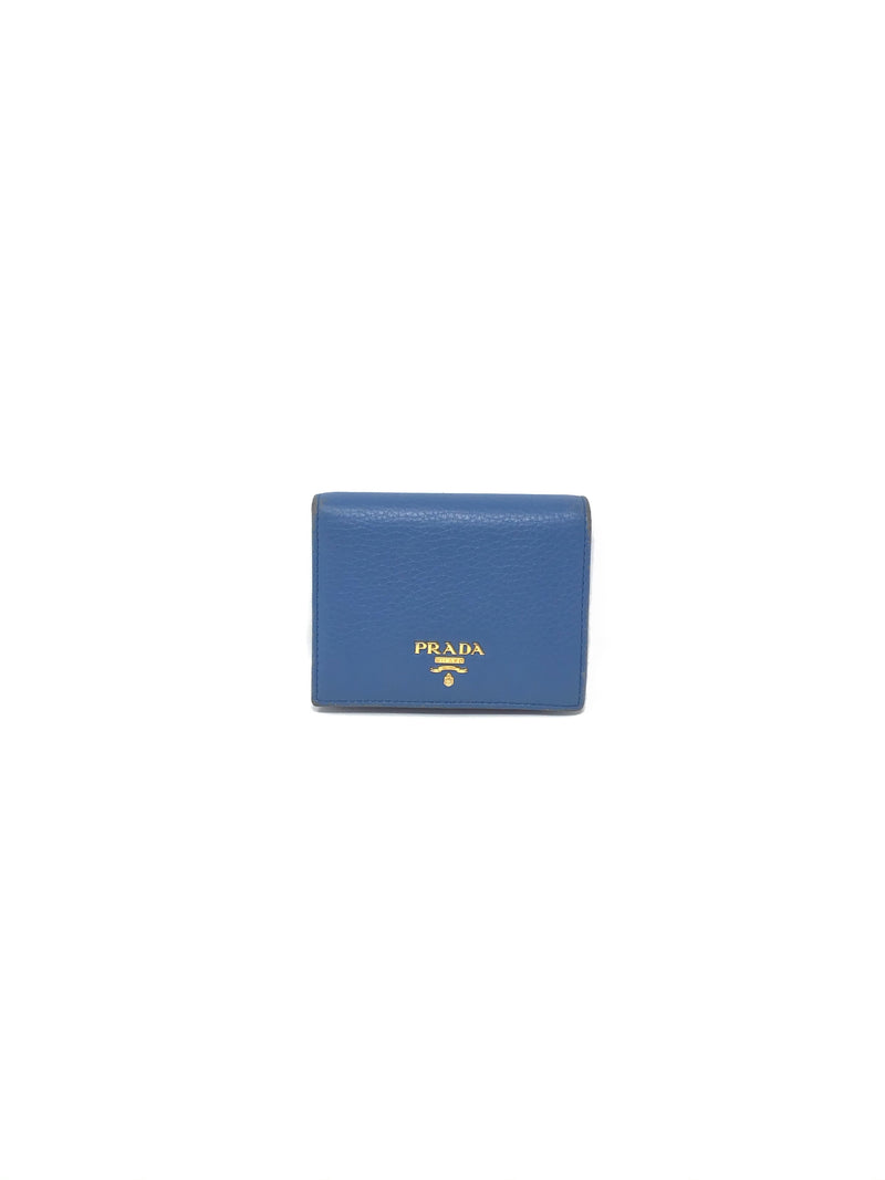 Prada  Pebbled Small Logo-Plaque Wallet