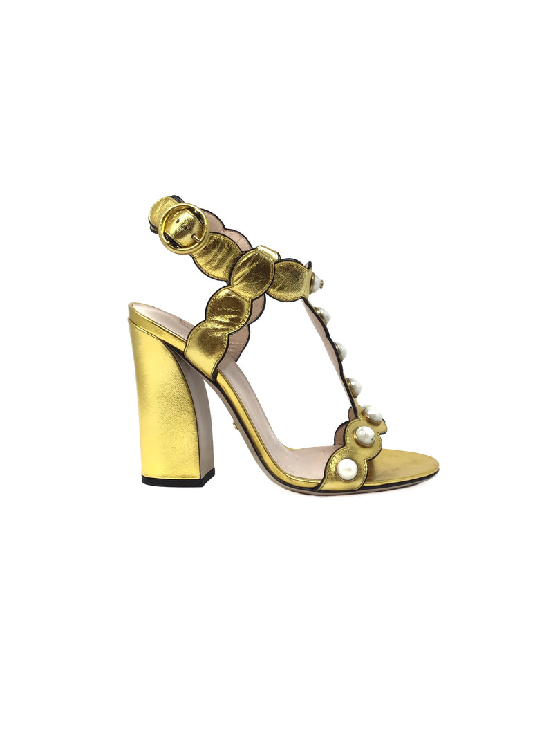 Gucci W Shoe Size 38.5 Metallic 'Willow' Pearl T-Strap Heel