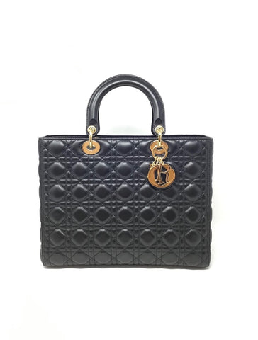 Lady Dior Large Black Quilted Handbag