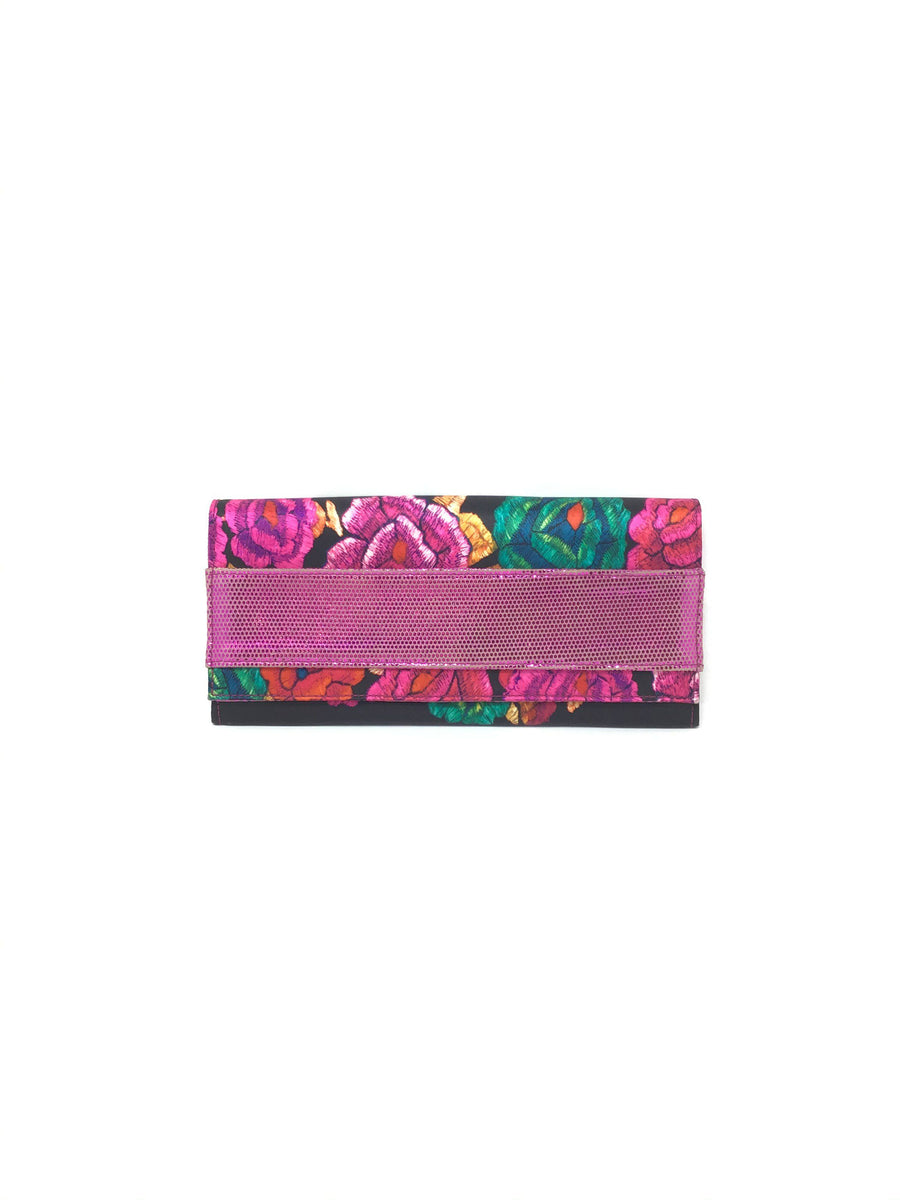 Roberto Cavalli Pink/Black Satin Floral W/Metallic Detail Clutch