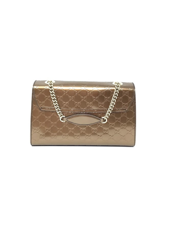 Gucci Bronze 'Emily' Patent Guccisima Medium Shoulder Bag