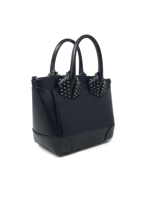 Christian Louboutin Black 'Eloise' Small Spiked Textured-Leather Tote
