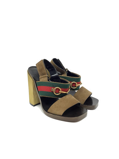 Gucci W Shoe Size 37 'Querelle' Suede Striped Horsebit Sandal