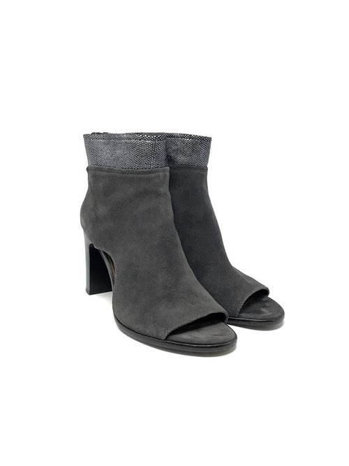 Donald Pliner 8.5 Suede/ Metallic Peep Toe Booties