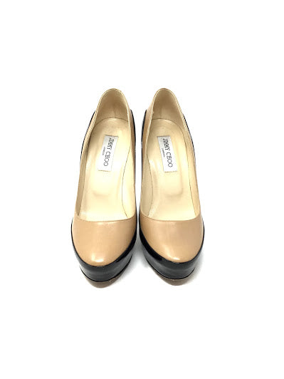 Jimmy Choo 39 Sepia Two Toned Leather Patent  Pumps