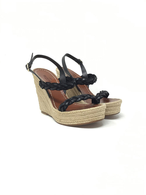 Valentino W Shoe Size 36.5 Braided Leather Double-Strap Espadrille Wedge