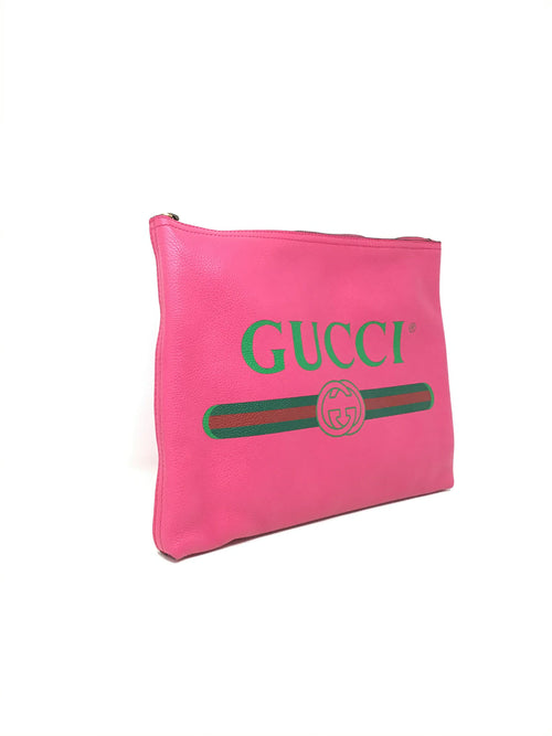 Gucci Hot Pink Pebbled Calfskin Medium Logo Portfolio Clutch