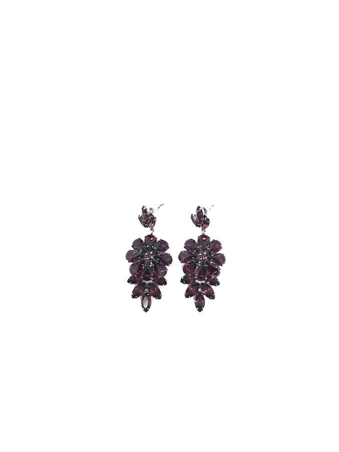 Tom Binns Purple Amethyst Crystal Drop Earrings