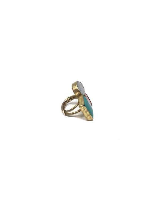 Shalom Jewelry Gold Turquoise/Red Coral/Druzy Tri-Stone Ring