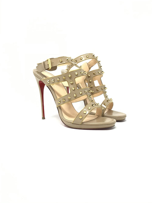 Christian Louboutin W Shoe Size 38.5  'Sexystrapi' Open Toe Studded Heel