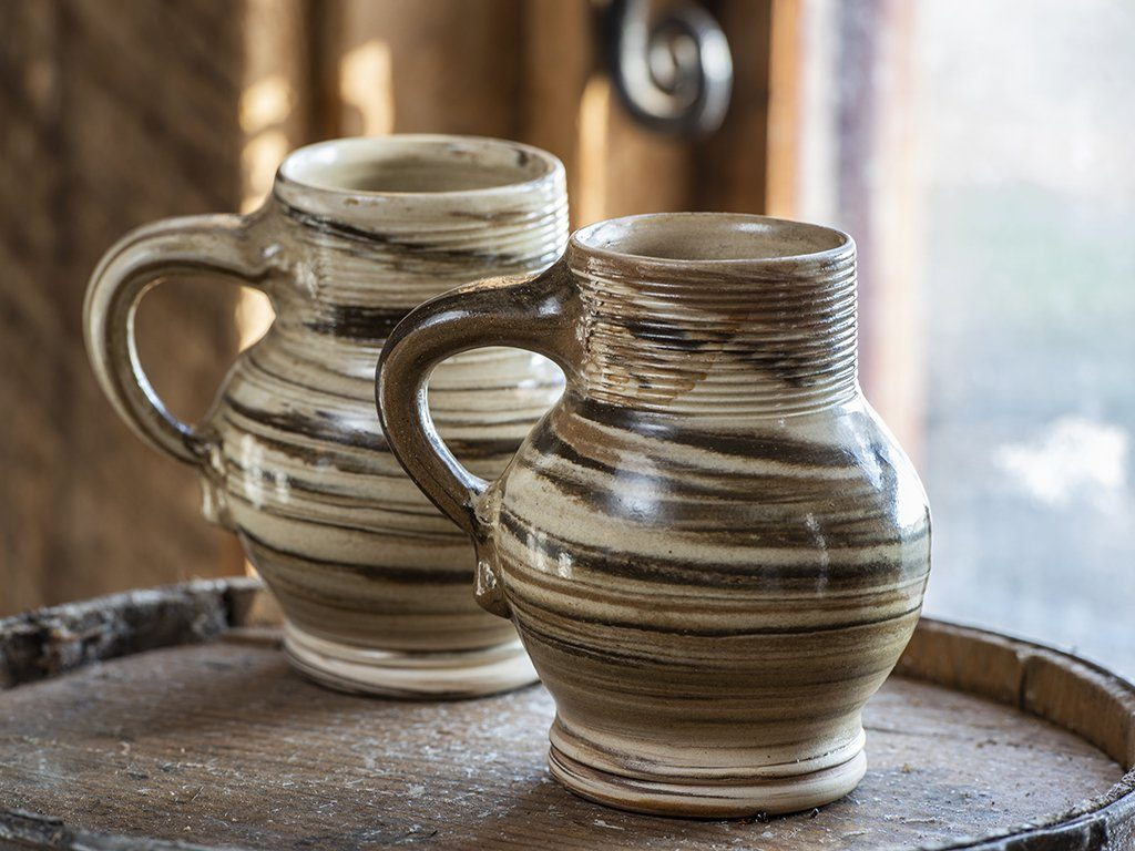 Agateware Bellied Mugs - Samson Historical