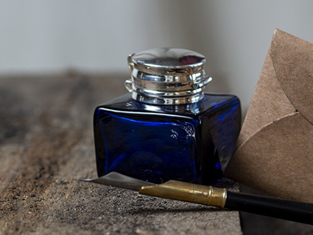 Blue Square Inkwell