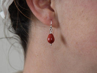 Red Coral Drop Earrings - Samson Historical