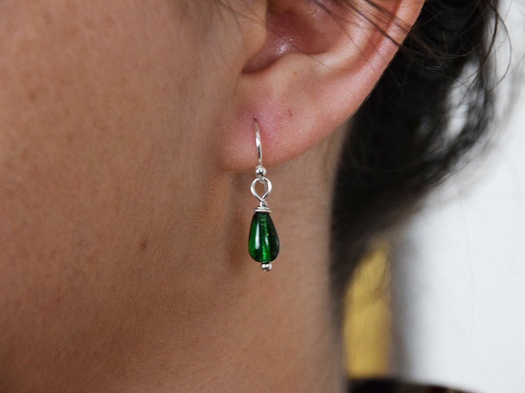 Emerald Glass Drop Earrings - Samson Historical