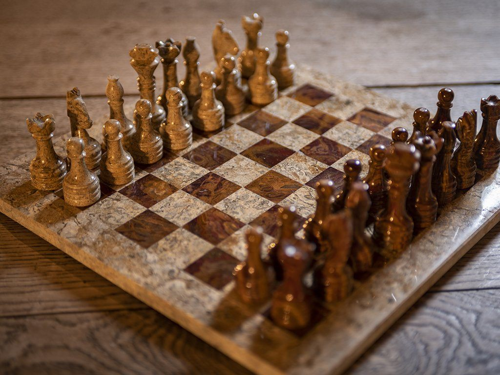 Brown & Tan Marble Chess Set - Samson Historical