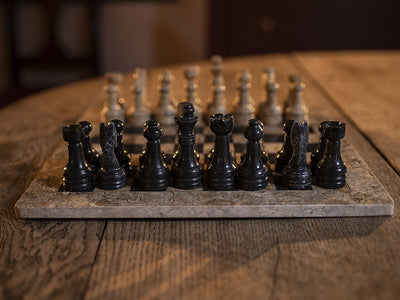 Black & Tan Marble Chess Set - Samson Historical