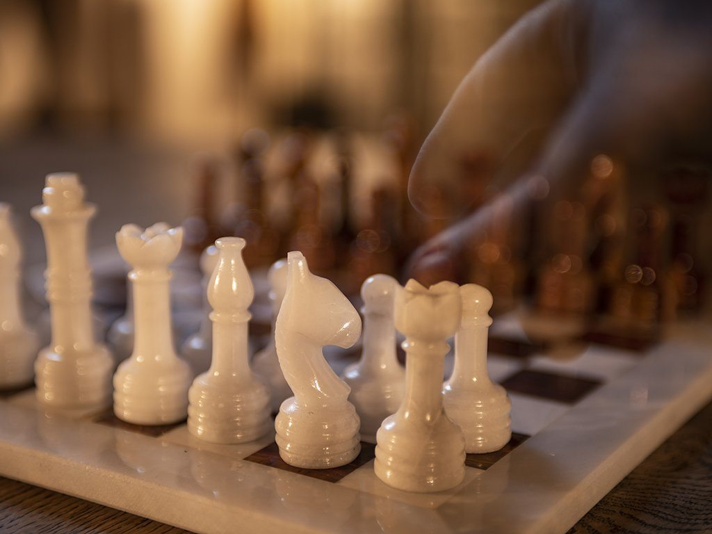 Brown & White Marble Chess Set - Samson Historical