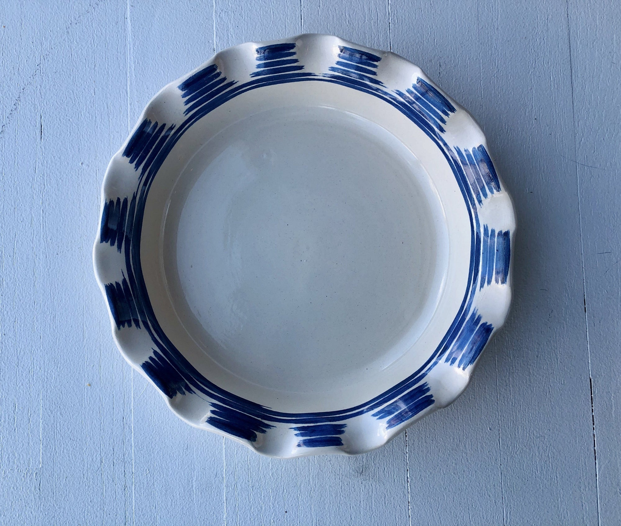 Blue & White Scalloped Pie Plate