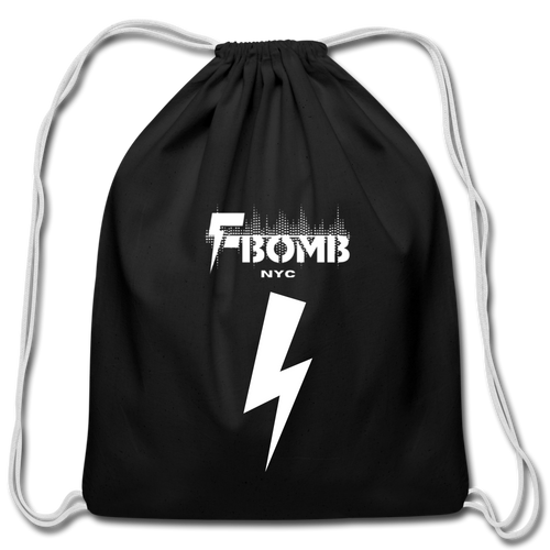 F-BOMB Cotton Drawstring Bag - black