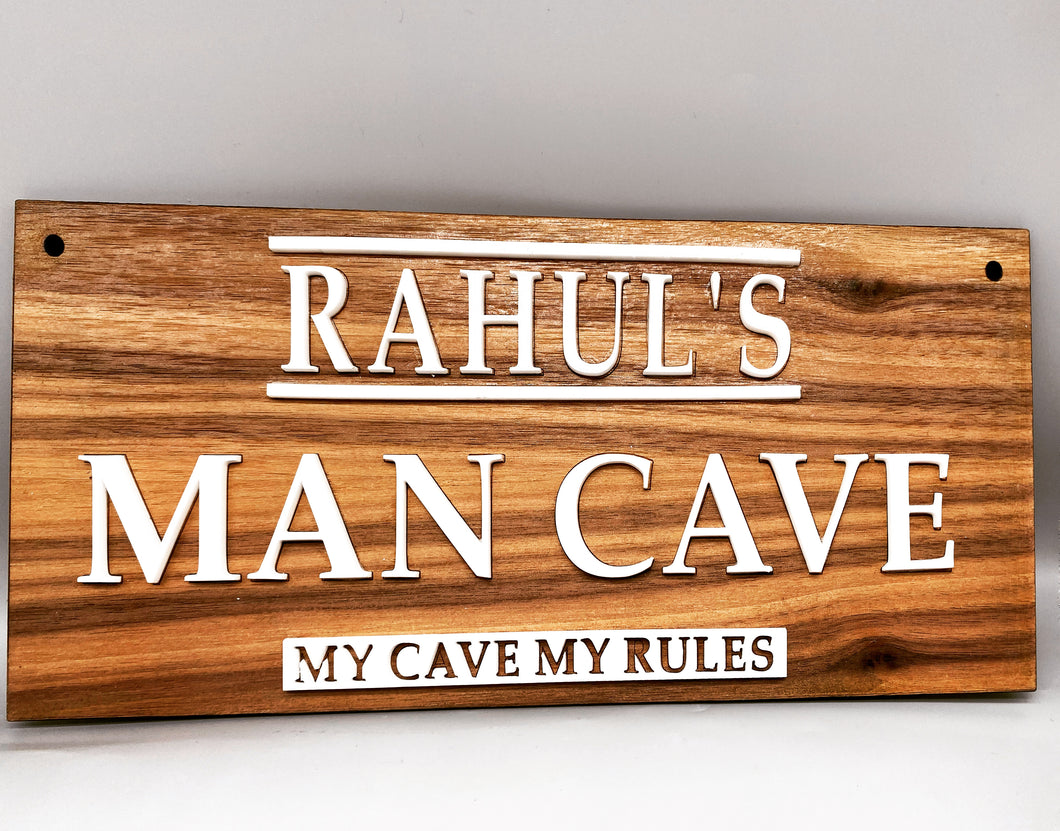 Man cave walnut bespoke plaque