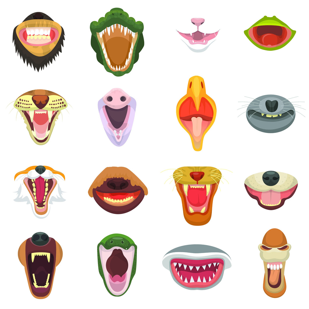 Fierce Animal Mouth Stickers for Face Masks
