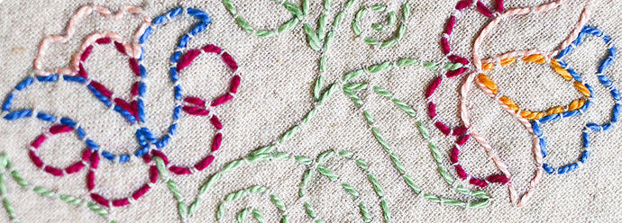 Outlining with running stitch: a tutorial