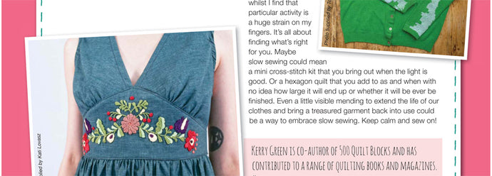 Slowing down to sew stitch by stitch: Kate & Rose in Sewing World magazine