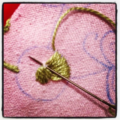 crowding stitches at one tip