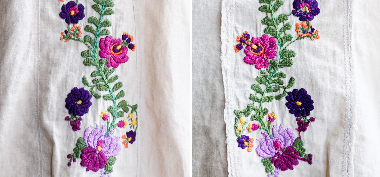 Front and back of Cabbage Rose Fancy Roza blouse