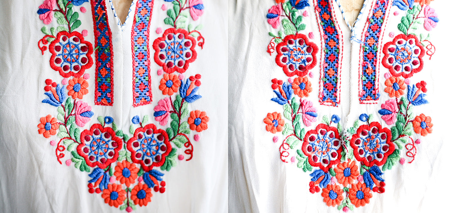 front and back of embroidery on vintage peasant blouse