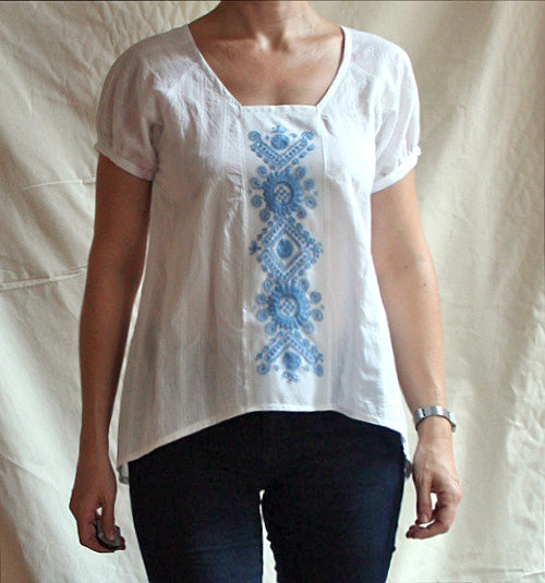 white voile Roza with blue embroidery from Buzsak