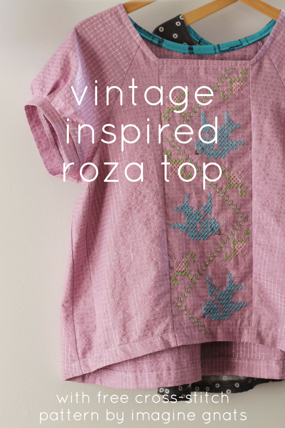 roza top with vintage inspired cross-stitch