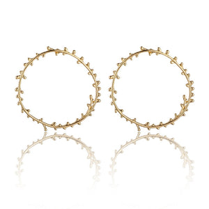 Leaf Flower Gold Round Earring